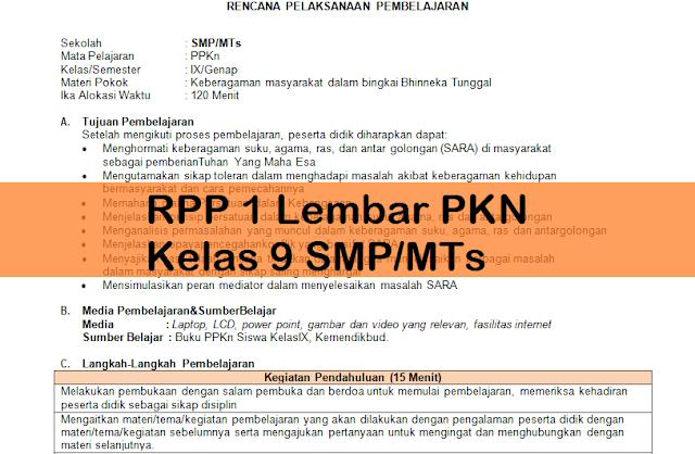 RPP 1 Lembar PKN Kelas 9 SMP/MTs