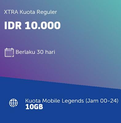 Cara Daftar Paket Mobile Legends XL 10GB 10 Ribu Sebulan