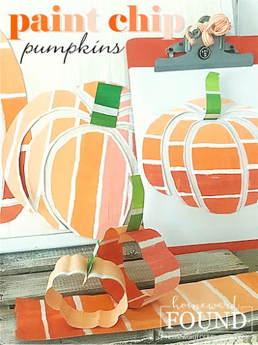 fall, fall decor, fall home decor, pumpkins, papercrafts, fall pumpkin decor, paint chip crafts, paint chip pumpkins, crafting, fall crafts, orange decor, diy, diy home decor, diy fall decor, Halloween decor