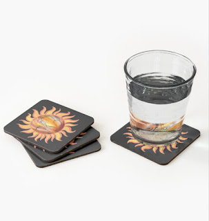 Watercolor Sun Paining by Irina Sztukowski on coasters
