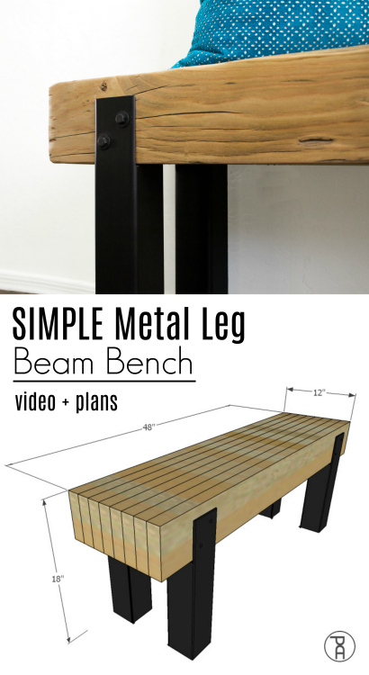 Learn how to make a rustic modern bench seat from a reclaimed beam or framing lumber and square steel tubing following this easy video tutorial and FREE plans