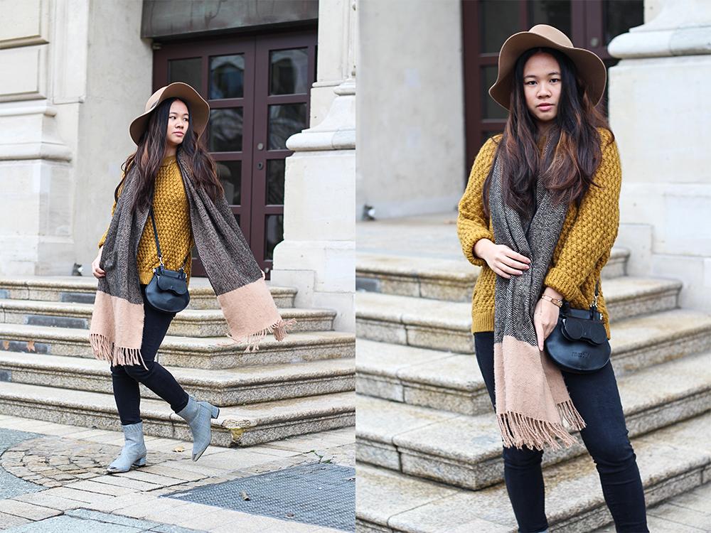 Gelber Pullover H&M mit Schal und Hut