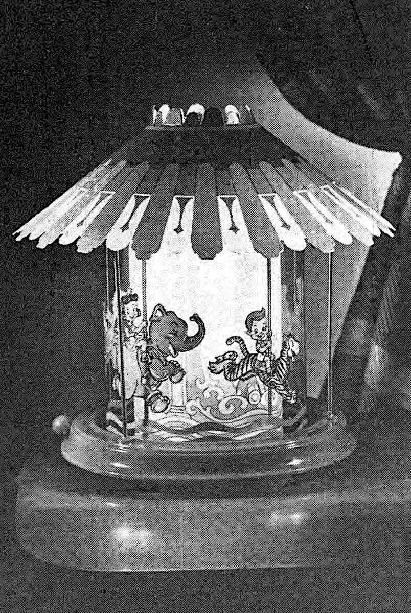 a circus theme children's night-light to keep the monsters away, a 1949 photograph