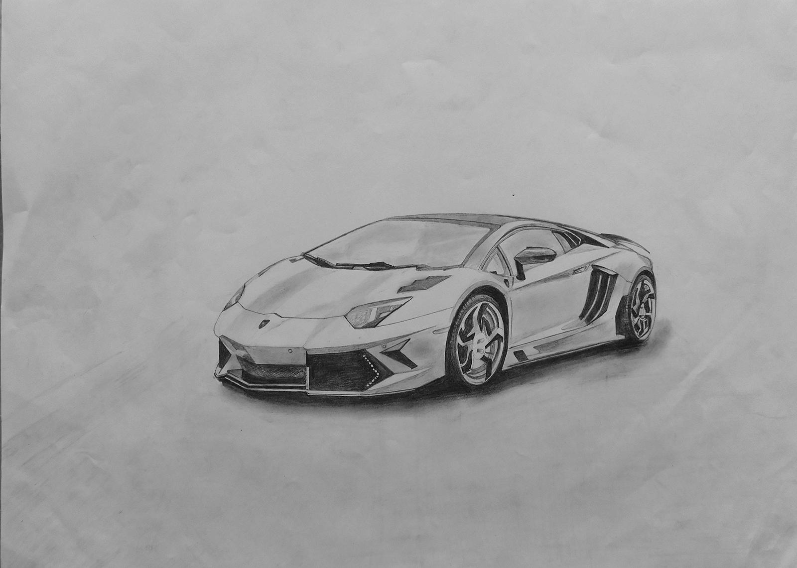 Sourcewing Lamborghini Aventador Pencil Sketch