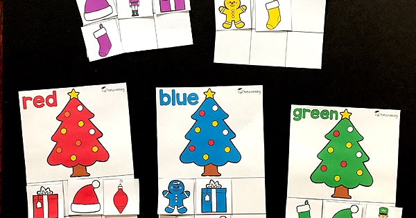 christmas color sorting printable activity
