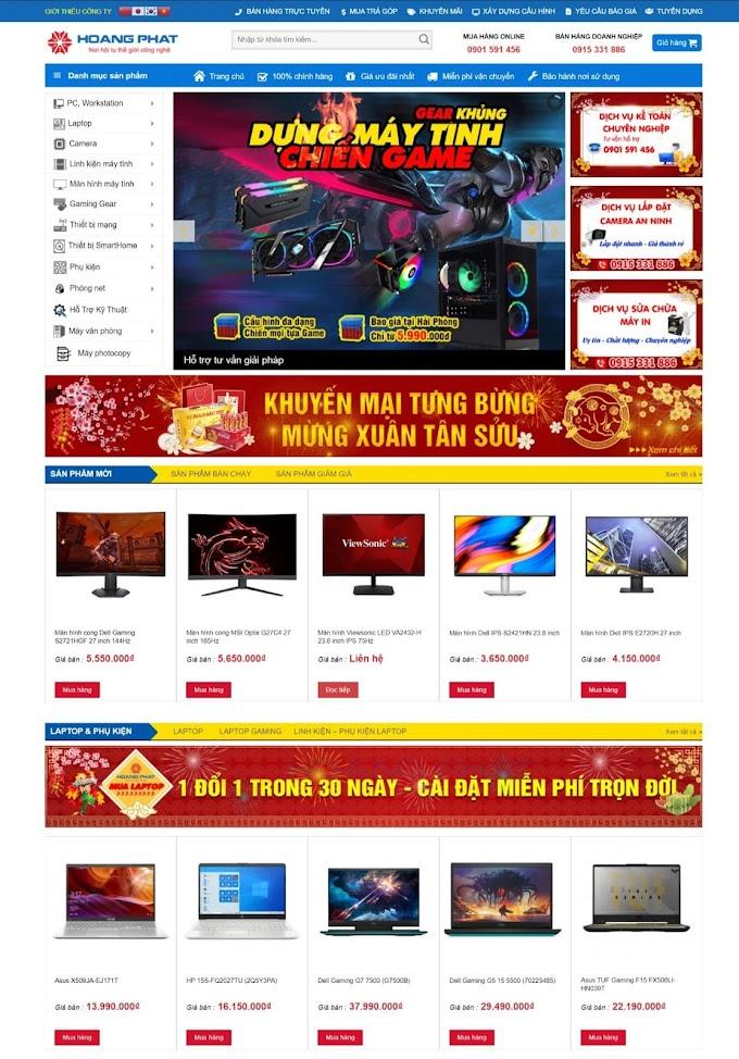 Mẫu website bán điện máy
