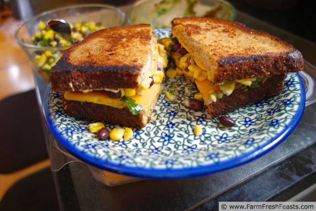 Guacamole, hummus, and corn & black bean salsa nestled into the middle of a grilled cheese sandwich.  A delicious leftover repurposed into a snack.