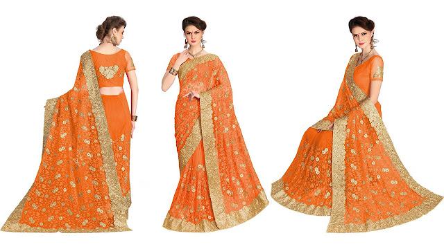 Pragati Fashion Hub Embroidered Bollywood Net Saree  (Orange)