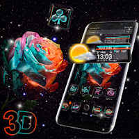 Rose Galaxy 3D Glass Tech Theme Apk free Download for Android