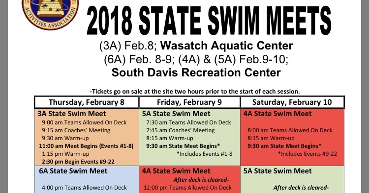 Cedar High Swim: State Swim Information - uhsaa org