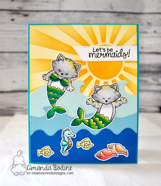 Let's Be Mermaids Card by Amanda Bodine | Purr-maid Newton Stamp Set, Sea Borders Die Set and Sunscape Stencil by Newton's Nook Designs #newtonsnook #handmade