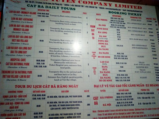 Tours en Cat Ba