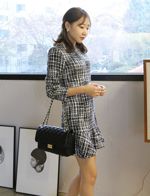 Classic Checkered Frilled Hem Mini Dress