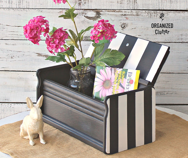 Photo of a wooden recipe box painted and striped with Frog Tape