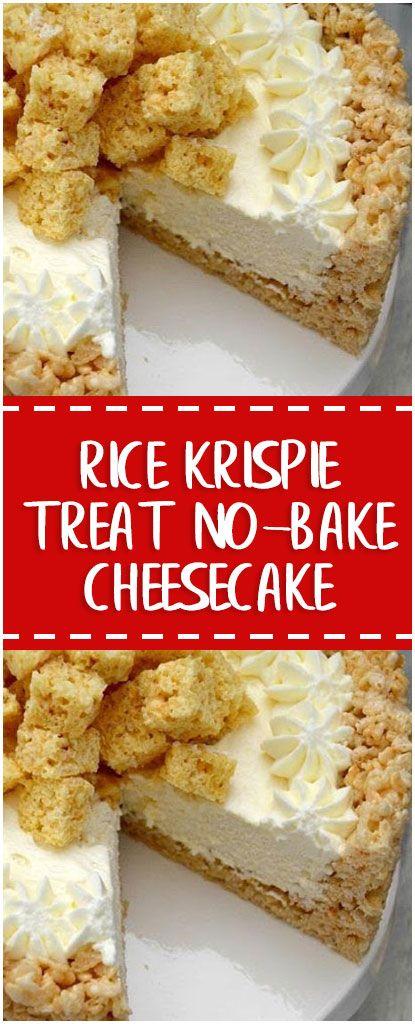 Rice Krispie Treat No-Bake Cheesecake