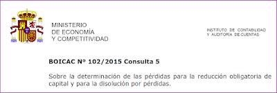 Determinación de las pérdidas para reducción de capital y disolución: BOICAC 102 consulta 5