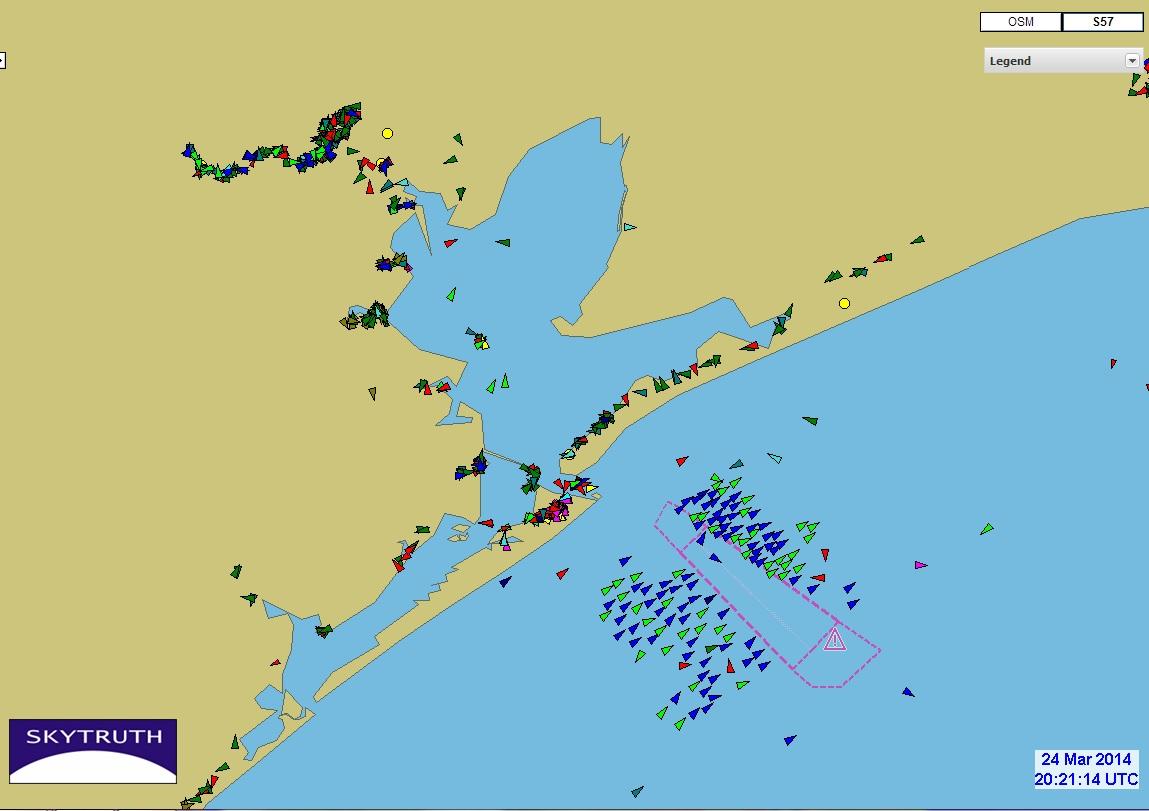 Ship Traffic Map.March 2014 Gulf Monitoring Consortium
