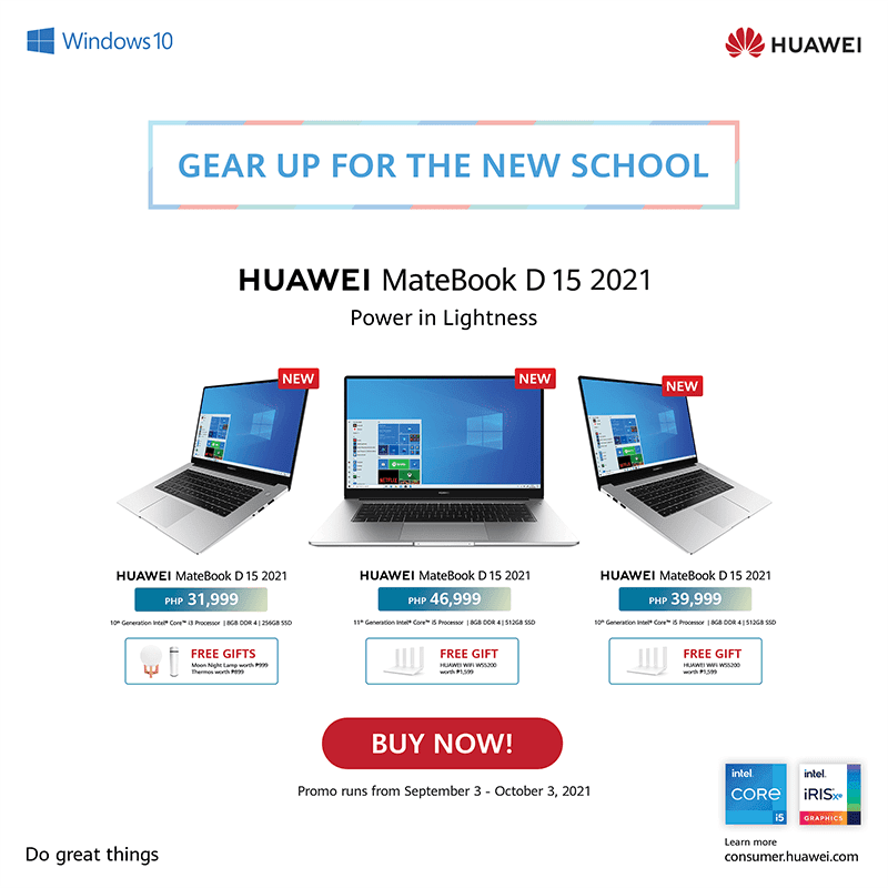 There are available via Huawei Online Store, Lazada, and Shopee