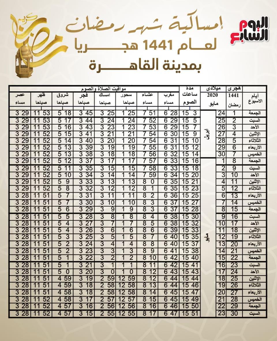 امساكية شهر رمضان 2020 في مصر
