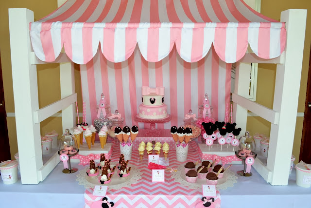 pink minnie mouse dessert table