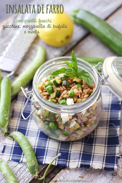 insalata di farro piselli freschi zucchine mozzarella e menta