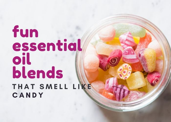 Fun essential oil blends that smell like candy and like food.  Use these unique and fun blends for diffuser or for roller blends.  These fun blends use common essential oils like sweet orange, cinnamon, peppermint, and frankincense and make recipes that smell amazing.  Use the blends for roller recipes, diffuser recipes, natural perfume, soap, candles, or DIY bath and body that smell good. #essentialoils