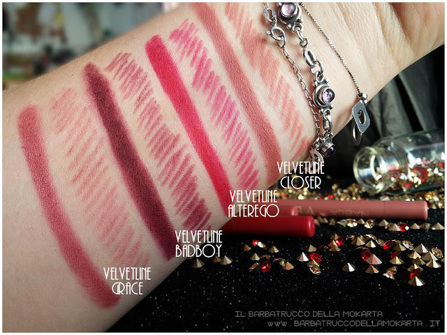 velvetline swatches  nabla rossetto liquido
