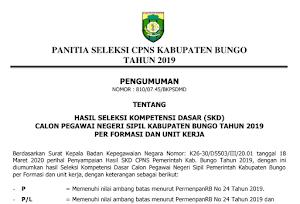Pengumuman Hasil Tes SKD CPNS 2019 Kabupaten Muara Bungo Provinsi Jambi