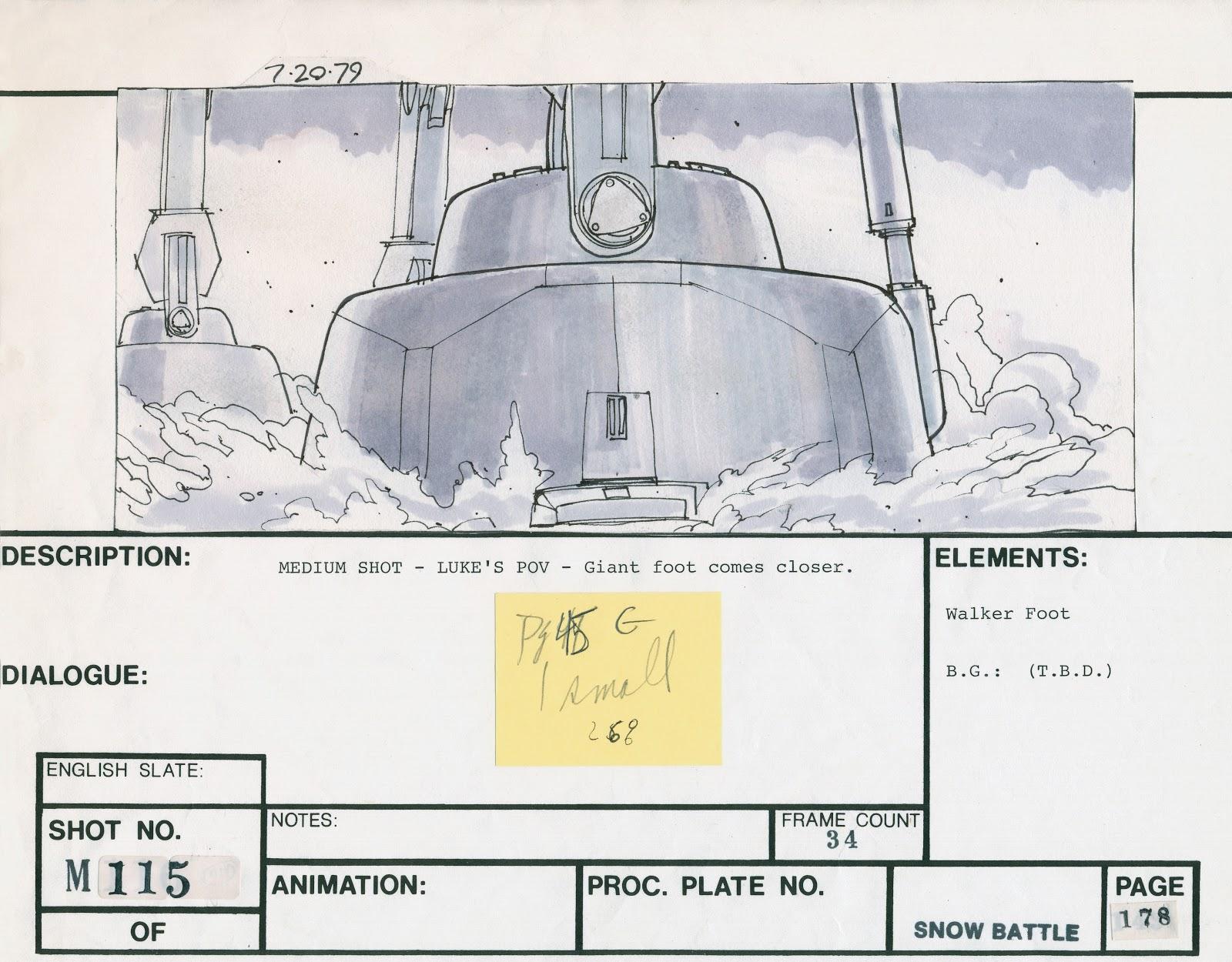 Star Wars - The Empire Strikes Baack - original Lucasfilm storyboard - AT-AT foot