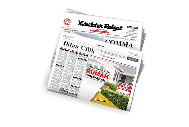 pasang iklan rumah disewakan di koran Kedaulatan rakyat jogja