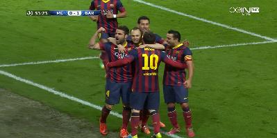 UEFA-16 : Manchester City 0 vs 2 Barcelona 18-02-2014