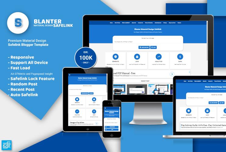 Blanter Premium Safelink Blogger Template With Material Design
