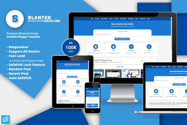 Blanter Premium Safelink Blogger Template With Material Design