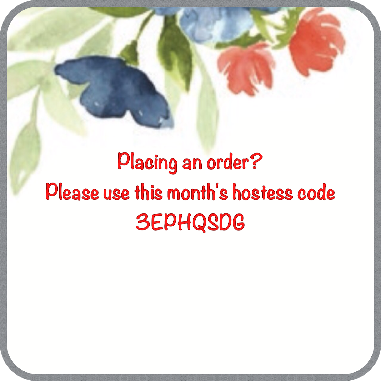 This month's hostess code