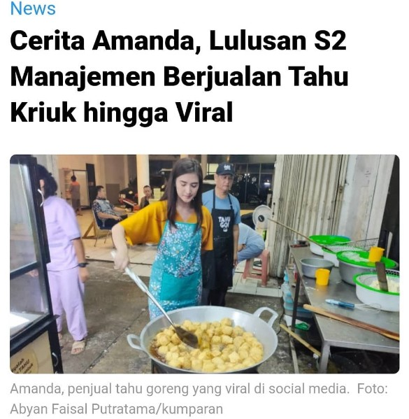 Berita viral dalam konsep marketing;Viral Penjual Tahu Goreng Cantik, Sebuah Konsep Gerilya Marketing Untuk Menarik Calon Pembeli;