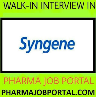 Syngene International Recruitment Drive for Discovery Chemistry R&D at 01 September