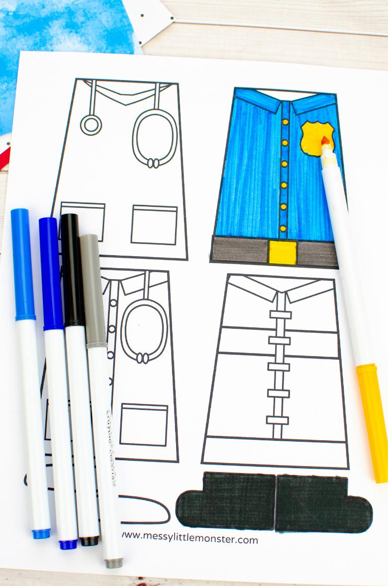 Community helpers preschool craft template