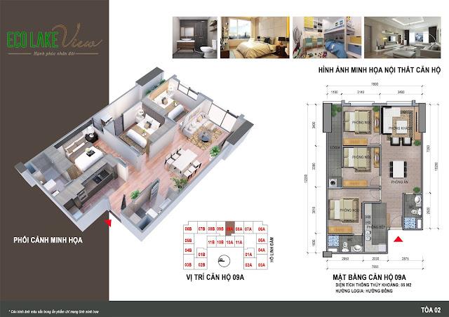 Thiết kế căn hộ 09A tòa HH2 chung cư ECO LAKE VIEW
