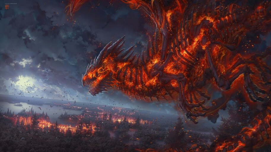 Dragon, Burning, Fantasy, 4K, #4.1048