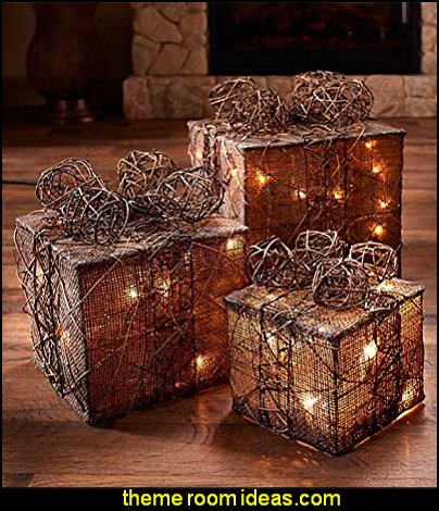 Lighted Gift Box Decor  Rustic Christmas  decorating ideas - rustic Christmas decorations  - Vintage  -  Rustic  - Country style Christmas decorating -  rustic Christmas decor - Christmas stockings - vintage rustic christmas decorations  Rustic Glam Vintage Christmas decor -  Rustic Country Vintage christmas tree ideas - Christmas stockings