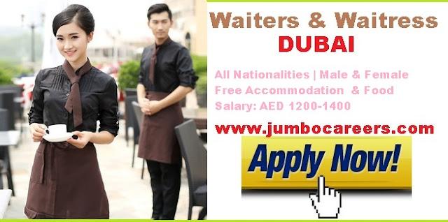 Waiters/ waitress job in Dubai for freshers.