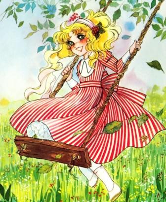 Dibujo de Candy feliz en su columpio