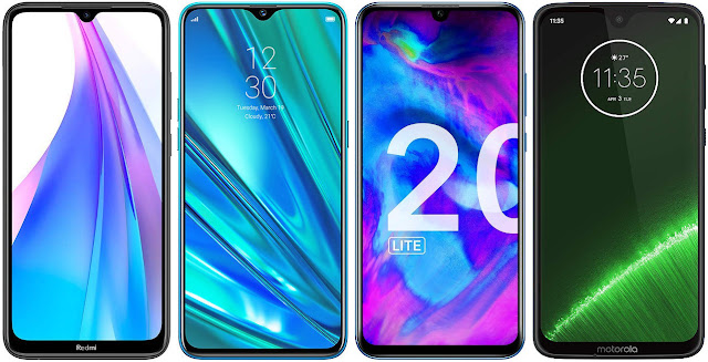 Xiaomi Redmi Note 8T vs Realme 5 Pro vs Honor 20 Lite vs Motorola Moto G7 Plus