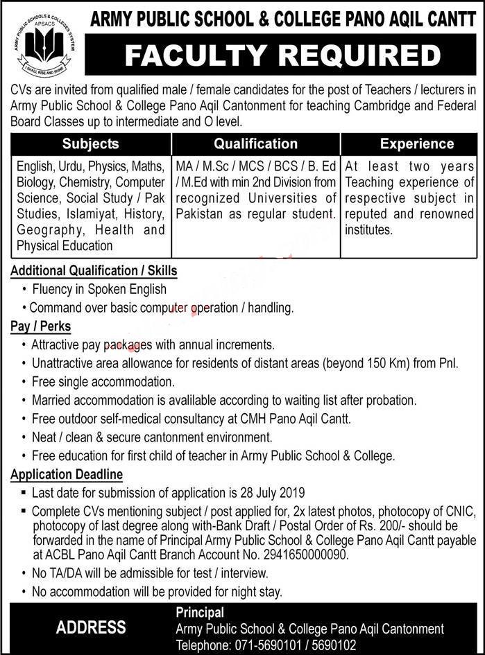 Army Public School & College Faculty Jobs 2019 Latest