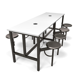 standing height 8 person table with power