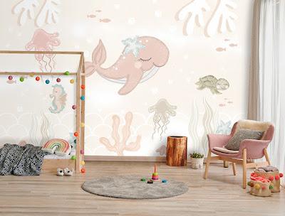 Mural infantil Ballena fondo marino