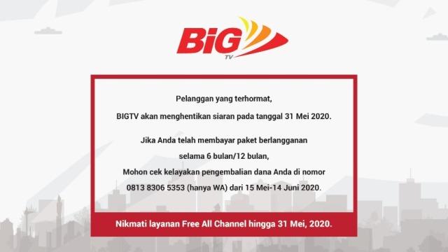 BIGTV Berhenti Mengudara pada 31 Mei 2020