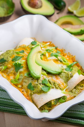 Chicken and Avocado Enchiladas in Creamy Avocado Sauce