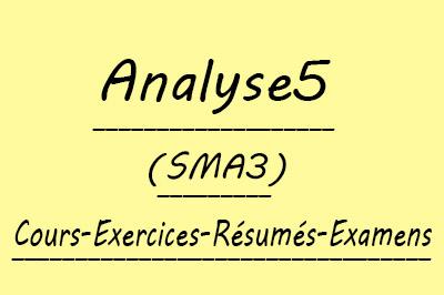 Analyse 5 SMA3 Cours // Td et Exercices // Résumés // Examens