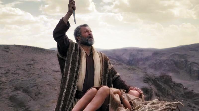 Momento em que Abrão está prestes a sacrificar seu filho Isaque